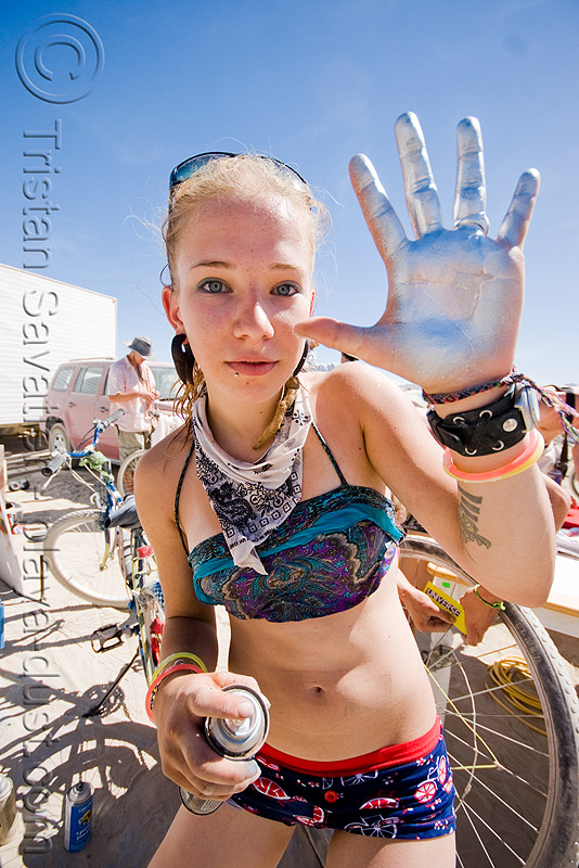 silver girl lana - burning man 2008, burning man, hand palm, silver paint, spray paint, woman