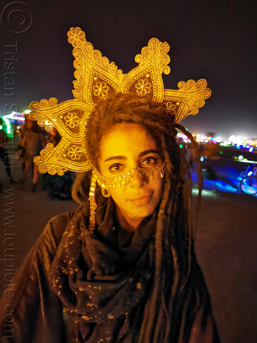 sinem with headdress - burning man 2019, burning man, headdress, night, sinem, woman