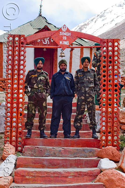 singh is king - sikh soldiers at check-point - road to chang-la pass - ladakh (india), army, army fatigue, army uniform, bell, chang pass, fatigues, gate, indian army, men, military, people, red, red color, shrine, sikhism, stairs, three