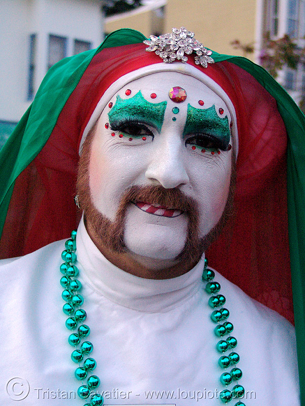 sister mary juanita high (the sisters of perpetual indulgence, san francisco) - christmas makeup, beads, bindis, drag, green, green beads, man, nuns, people, red, white