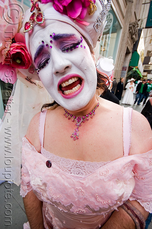 sister sarah femme fatale - sisters of perpetual indulgence - brides of march (san francisco), bindis, brides of march, festival, flowers, headdress, makeup, man, nuns, sister sarah femme fatale, sisters of perpetual indulgence, wedding, white