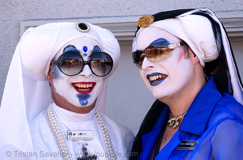 the sisters of perpetual indulgence, folsom street fair, makeup, man, nuns, people, sister mary ralph, sister selma soul