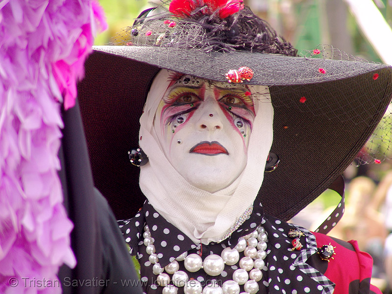 the sisters of perpetual indulgence - easter sunday in dolores park, san francisco, drag, easter, makeup, man, nun, sister bella de ball, sisters of perpetual indulgence, white