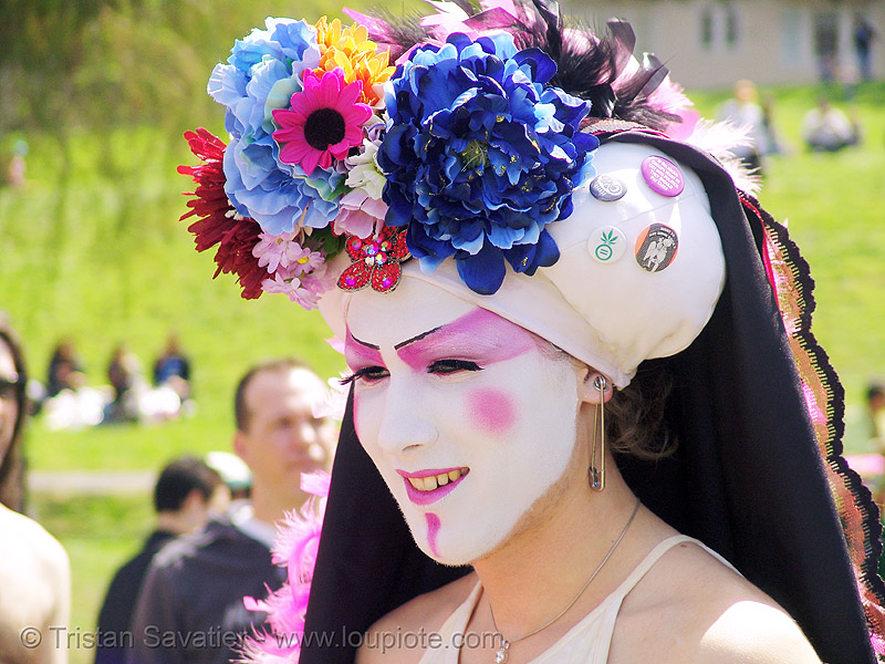 the sisters of perpetual indulgence - nun - easter sunday in dolores park, san francisco, drag, hunky jesus contest, makeup, man, people, sister viva l'amour, white
