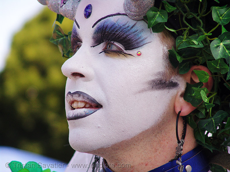 the sisters of perpetual indulgence - sister anja knees - easter sunday in dolores park, san francisco, drag, easter, makeup, man, nuns, sister anja knees, sisters of perpetual indulgence, white