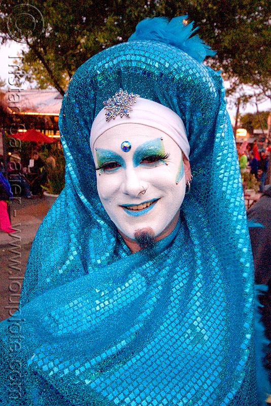 the sisters of perpetual indulgence - sister glo euro N'wei from the abbey of st joan, blue, drag, easter, man, nun, sister glo euro n'wei, sisters of perpetual indulgence, white makeup