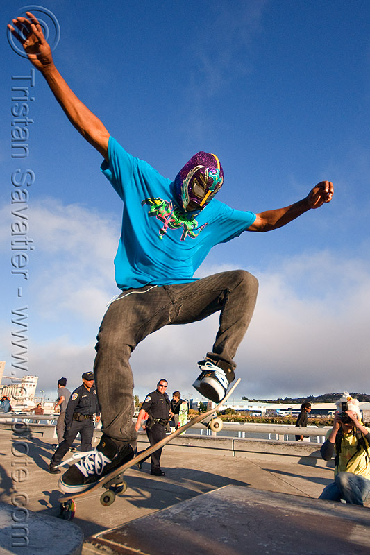 skateboarder jumping - superhero street fair (san francisco), islais creek promenade, man, skateboard, skateboarder, skateboarding, superhero street fair, wrestler mask