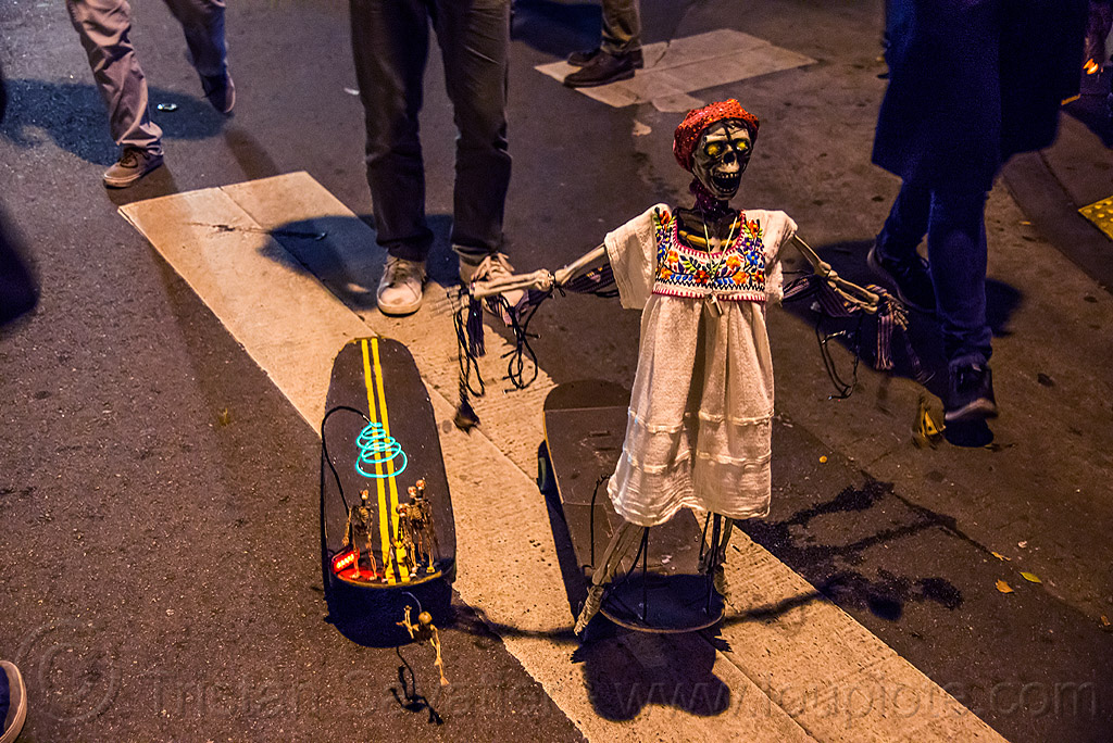 skateboards decorated with skeletons - dia de los muertos, day of the dead, dia de los muertos, halloween, night, skateboards, street, toy skeletons