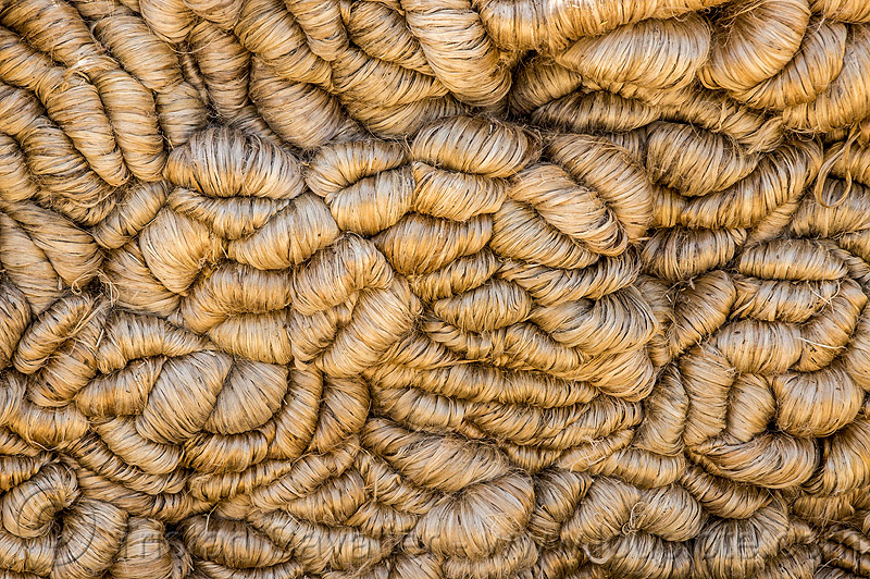 skeins of hemp rope (india), heap, hemp, pattern, ropes, skeins, texture, west bengal