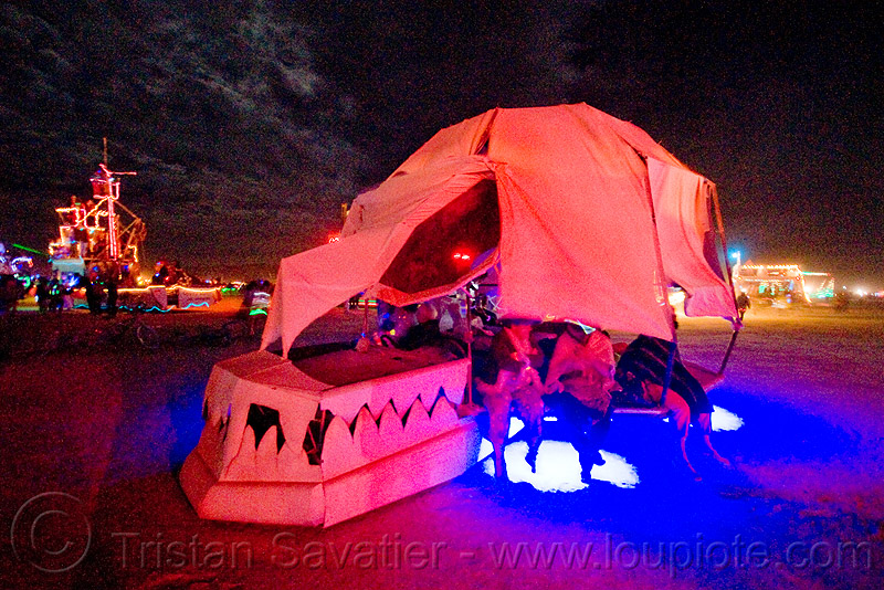 skull art car - burning man 2009, burning man, night, skull, unidentified art car