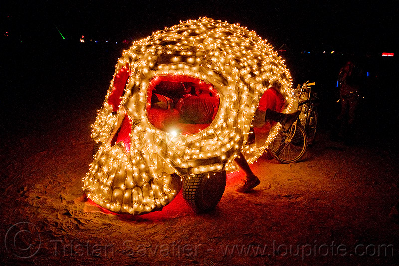 skull art car - christmas lights - burning man 2009, christmas lights, glowing, night, skull art car