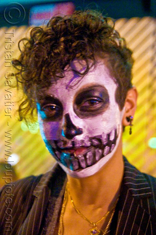 skull face paint - dia de los muertos - halloween (san francisco), day of the dead, dia de los muertos, face painting, facepaint, halloween, makeup, night, woman