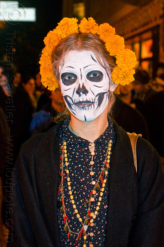 skull makeup and orange marigold flower crown headdress, black, day of the dead, dia de los muertos, face painting, facepaint, flower crown, halloween, necklaces, night, orange flowers, orange marigold, red, skull makeup, tagetes, woman, yellow