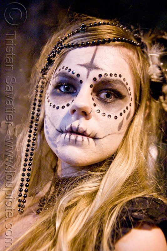 skull makeup - black bindis and beads - dia de los muertos - halloween (san francisco), beads, bindis, day of the dead, dia de los muertos, face painting, facepaint, halloween, night, sugar skull makeup, woman