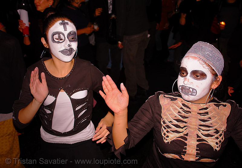 skull makeup - dia de los muertos - halloween (san francisco), costumes, day of the dead, dia de los muertos, face painting, facepaint, halloween, makeup, night, the mission