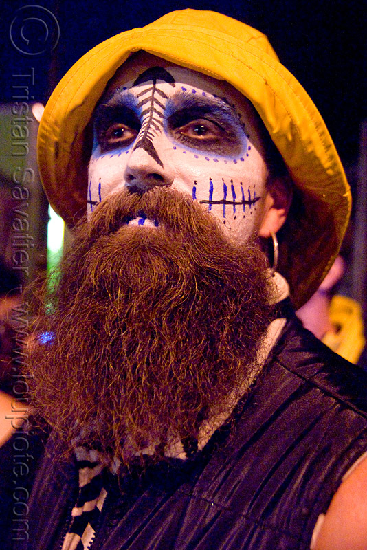 skull makeup - dia de los muertos - halloween (san francisco), beard, day of the dead, dia de los muertos, face painting, facepaint, halloween, hat, makeup, man, night