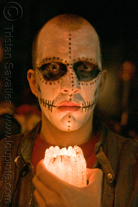 skull makeup - dia de los muertos - halloween (san francisco), candle, day of the dead, face painting, facepaint, man, night, people, sugar skull makeup