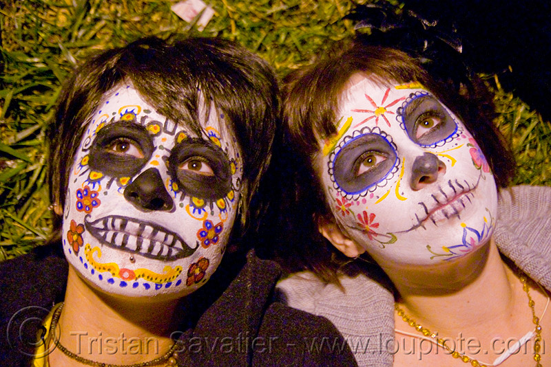 skull makeup - dia de los muertos - halloween (san francisco), day of the dead, face painting, facepaint, night, people, sugar skull makeup, two, women