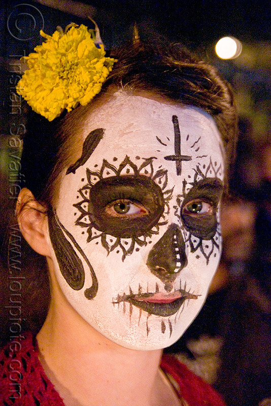 skull makeup - dia de los muertos - halloween (san francisco), day of the dead, face painting, facepaint, flower, night, people, sugar skull makeup, woman