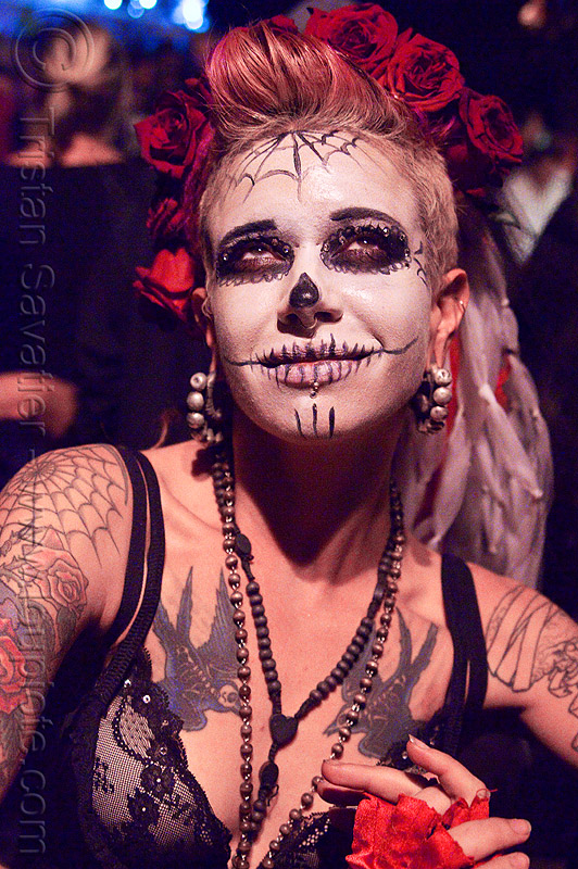 skull makeup - dia de los muertos - halloween (san francisco), bird tattoo, birds tattoo, day of the dead, dia de los muertos, face painting, facepaint, halloween, night, sugar skull makeup, tattooed, tattoos, woman