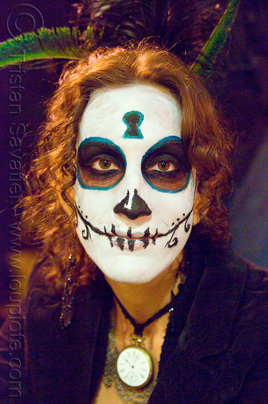 skull makeup - dia de los muertos - halloween (san francisco), day of the dead, face painting, facepaint, night, people, woman