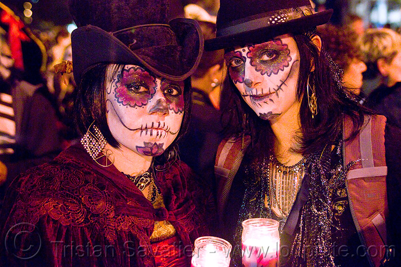 skull makeup - dia de los muertos - halloween (san francisco), candles, day of the dead, face painting, facepaint, hats, night, people, rachel, sugar skull makeup, women