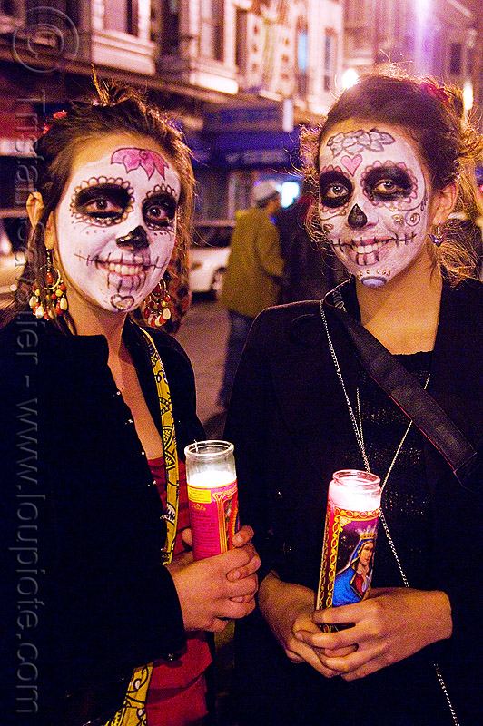 skull makeup - dia de los muertos - halloween (san francisco), candles, day of the dead, face painting, facepaint, night, people, sugar skull makeup, women