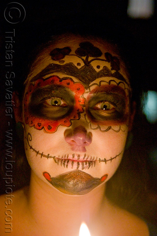 skull makeup - green eyes - dia de los muertos - halloween (san francisco), candle, day of the dead, face painting, facepaint, night, people, sugar skull makeup, woman