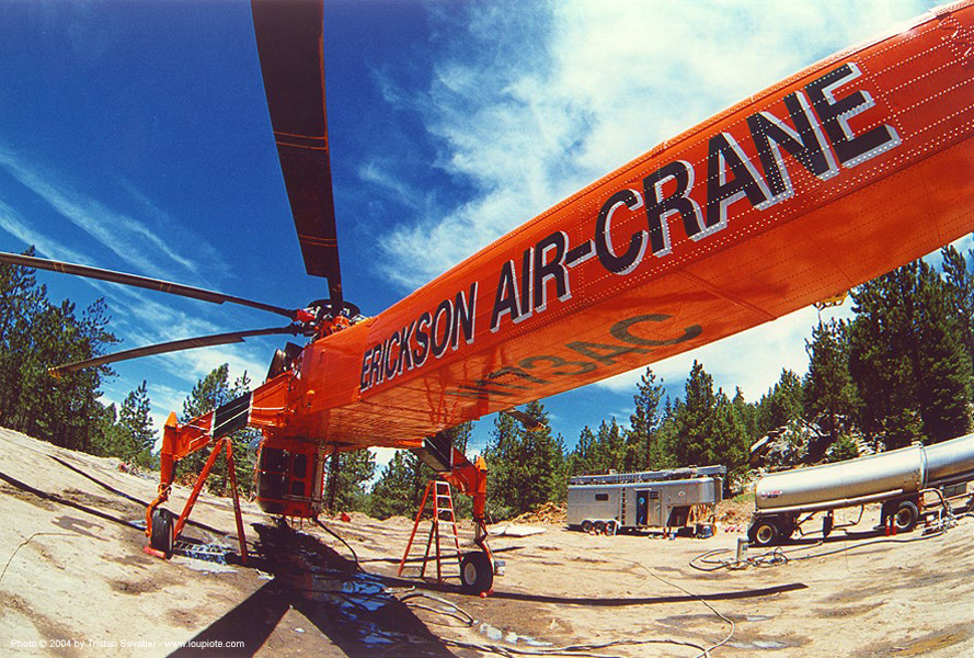 skycrane - sikorsky S-64 heavy lift helicopter on the ground, aircraft, erickson air-crane, fisheye, heavy lift helicopter, heli logging, helo, industrial helicopter, s-64 skycrane, sikorsky s-64