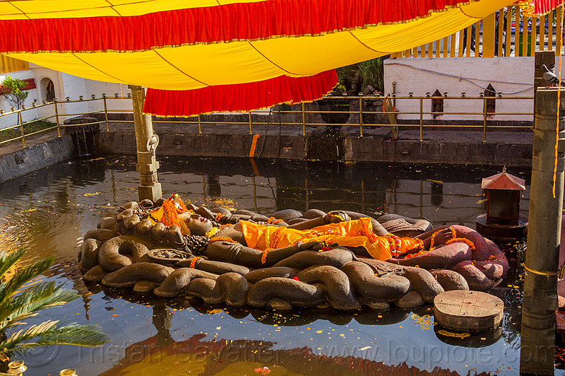 sleeping vishnu in pond - budhanikantha temple (nepal), 11, budhanikantha temple, eleven-head, eleven-headed, floating vishnu, hindu temple, hinduism, jalakshayan narayan, lying down, naga snake, nāga snake, pond, pool, sculpture, sleeping vishnu, statue, water