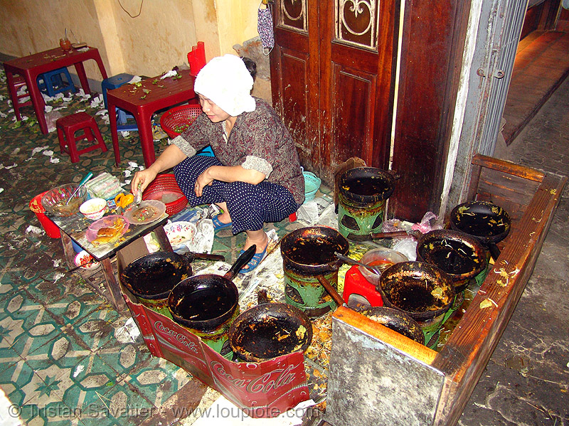 small but excellent restaurant - vietnam, asian woman, cook, cooking, eatery, food, hanoi, pans, restaurant, vietnam
