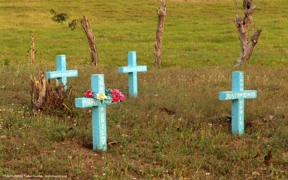 small cemetery in the countryside - graves - crosses, blue, blue crosses, costa rica, cross, graveyard