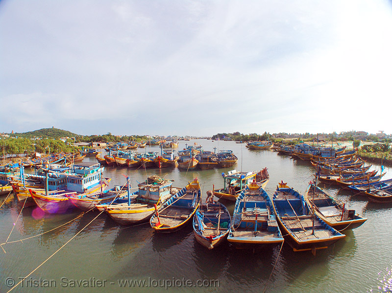 small fishing boats moored - phan thiet - vietnam, estuary, fisheye, phan thiet, river, small boats, small fishing boats, water