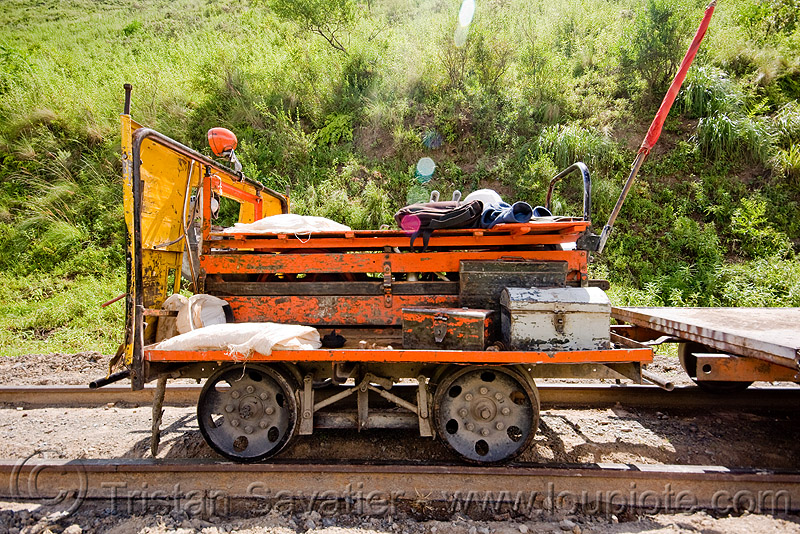 small motorized draisine used for track maintenance (argentina), argentina, dolly, draisine, metric gauge, narrow gauge, noroeste argentino, rail trolley, railroad construction, railroad speeder, railroad tracks, railway tracks, single track, track maintenance, tren a las nubes, workers