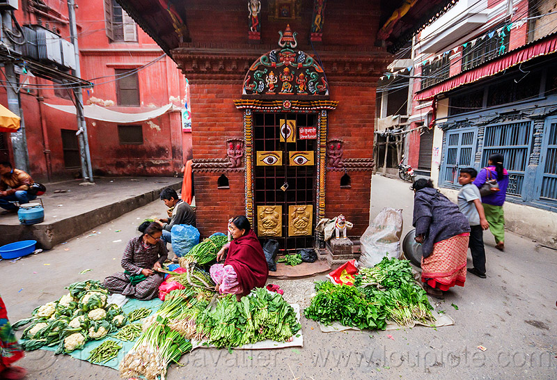 small street farmers market in kathmandu (nepal), hindu temple, hinduism, people, three eyes, vendor, women