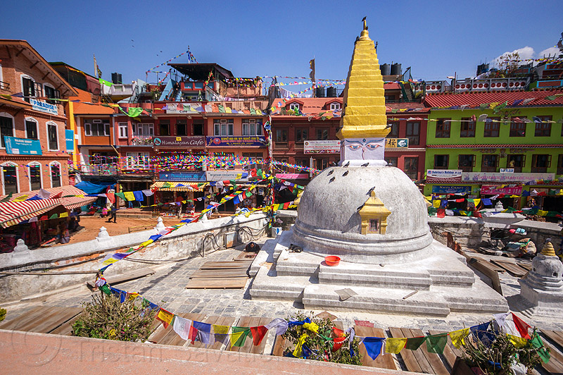 small stupa at bodnath - kathmandu (nepal), bodnath stupa, boudhanath, buddhism, kathmandu, prayer flags, tibetan