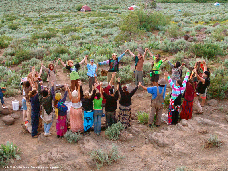 small-supper-circle - rainbow gathering - hippie, hippies, holding hands, people, rainbow family