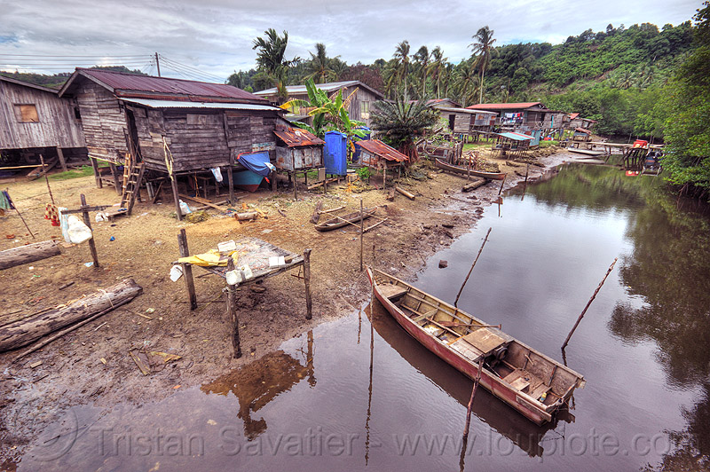 small village near river (borneo), boat landing, boats, forest, houses, mangrove, mooring, mooring poles, rain forest, river boat, rowing boat, small boats, water