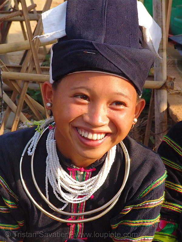 "smiling ""lo lo den"" tribe girl with necklaces - vietnam, black lo lo tribe, bảo lạc, happy smile, hat, headwear, hill tribes, indigenous, lo lo den tribe, necklace, tribe girl"