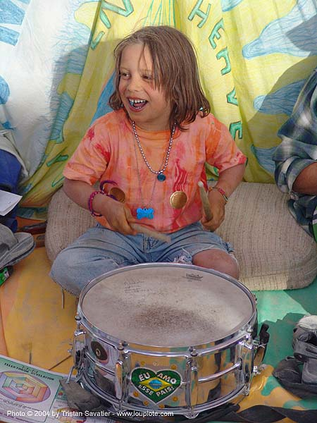 snare drum - drummer kid - burning-man 2004, burning man, center camp, child, drumming, people