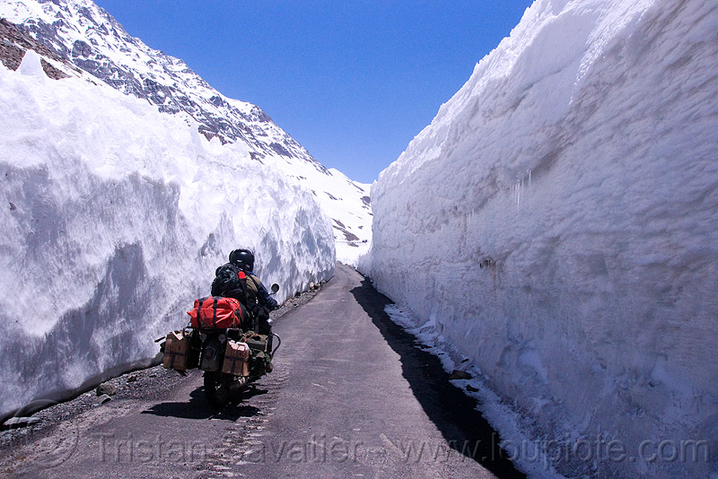 snow walls - himalayas - manali to leh road (india), baralacha pass, baralachala, ben, ladakh, motorbike touring, motorcycle touring, mountain pass, mountains, rider, riding, road, royal enfield bullet, snow walls