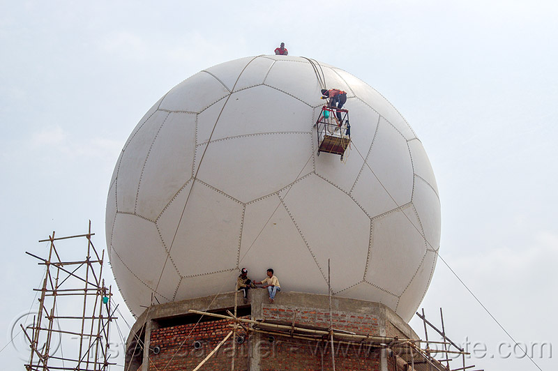 soccer ball radome - doppler radar (india), ball, building, cherrapunjee, cherrapunji, construction, dome, east khasi hills, hanging, india, meghalaya, men, radar, radome, ropes, scaffolding, sohra, sphere, truncated icosahedron, workers, working