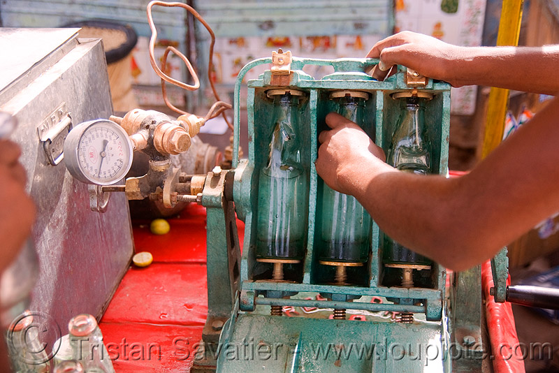 soda machine - pushkar (india), bottles, crank, pressure gauge, soda bottles, street market, street vendor