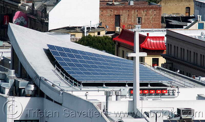 solar panels on roof (san francisco), cross, curved roof, photovoltaic array, rooftop, solar array, solar panels