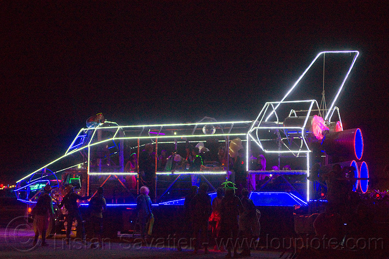 space shuttle - burning man 2013, burning man, disco space shuttle art car, glowing, night