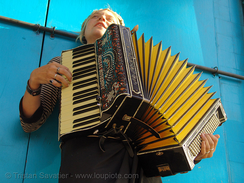 sparrow playing accordion (san francisco), accordeon, accordion player, anderson system, blue, haight street, piano accordion, sparrow, yellow