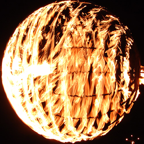 sphere of fire - burning-man 2004, burning man, fire, flames, flaming lotus girls, night