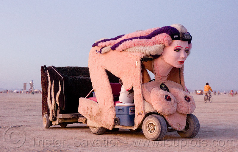 sphinx art car - burning man 2009, art car, burning man, camp make good choices, cindy, plush, sphinx