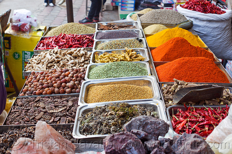 spice shop, chili pepper, chili powder, curry powder, delhi, nehru bazar, nuts, paharganj, rock salt, spice market, spice shop, spices, turmeric powder