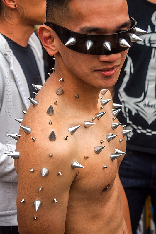 spikes glued on skin, folsom street fair, man, spikes, spiky